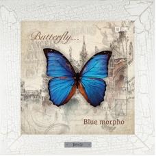 Blue morpho картина бабочки на керамике в деревянной рамке