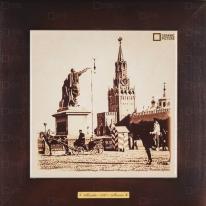 Картина-сувенир «Красная площадь, памятник Минину и Пожарскому, Спасские ворота» 28х28 см