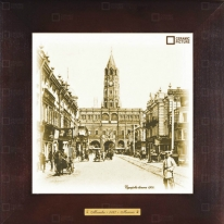 """Картина-сувенир """"Сухаревская башня, 1900 гг."""" 28х28см"""
