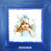 "Картина винтаж на керамике ""Emily"" художницы Frances Brundage, 1890 гг. 28х28см"
