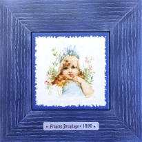 "Картина винтаж на керамике ""Emily"" художницы Frances Brundage, 1890 гг. 18х18см"