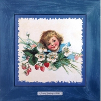 """Картина винтаж на керамике """"Elisabeth"""" художницы Frances Brundage, 1890 гг. 28х28см"""