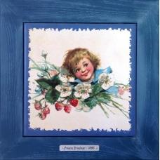 """Винтажная картина на керамике в деревянной раме """"Elisabeth"""" художницы Frances Brundage, 1890 гг. 28х28см"""