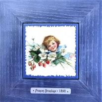 """Картина винтаж на керамике """"Elisabeth"""" художницы Frances Brundage, 1890 гг. 18х18см"""