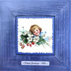 """Винтажная картина на керамике в деревянной раме """"Elisabeth"""" художницы Frances Brundage, 1890 гг. 18х18см"""