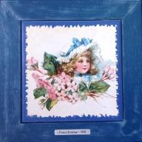 "Картина винтаж на керамике ""Margaret"" художницы Frances Brundage, 1890 гг. 28х28см"