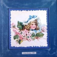 """Картина в детскую на керамике в деревянной раме """"Margaret"""" художницы Frances Brundage, 1890 гг. 28х28см"""