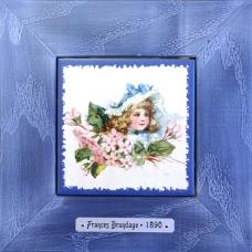 """Картина в детскую на керамике в деревянной раме """"Margaret"""" художницы Frances Brundage, 1890 гг. 18х18см"""