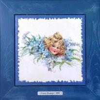 "Картина винтаж на керамике ""Adele"" художницы Frances Brundage, 1890 гг. 28х28см"
