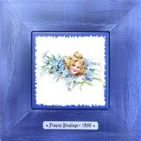 "Картина винтаж на керамике ""Adele"" художницы Frances Brundage, 1890 гг. 18х18см"