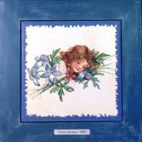"Картина винтаж на керамике ""Olivia"" художницы Frances Brundage, 1890 гг. 28х28см"
