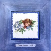 "Картина винтаж на керамике ""Olivia"" художницы Frances Brundage, 1890 гг. 18х18см"