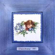 """Картина для детской спальной комнаты """"Olivia"""" художницы Frances Brundage, 1890 гг. 18х18см"""