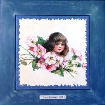 "Картина винтаж на керамике ""Charlotte"" художницы Frances Brundage, 1890 гг. 28х28см"
