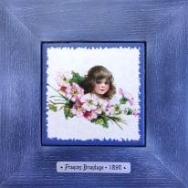 "Картина винтаж на керамике ""Charlotte"" художницы Frances Brundage, 1890 гг. 18х18см"