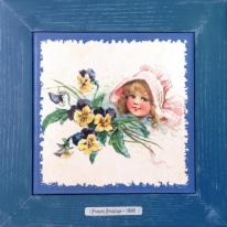 "Картина винтаж на керамике ""Gloria"" художницы Frances Brundage, 1890 гг. 28х28см"