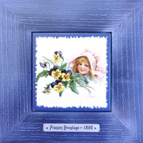 "Картина винтаж на керамике ""Gloria"" художницы Frances Brundage, 1890 гг. 18х18см"