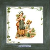 Картины винтаж Frances Brundage «Le Jardinier» 28х28 см