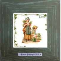 Картины винтаж Frances Brundage «Le Jardinier» 18х18 см