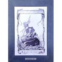 Картина гравюра на керамике L'eau Qui Dort, 1861г. 28x38 см