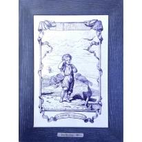 Картина гравюра на керамике La Chanson Du Coquillage, 1861г. 28x38 см
