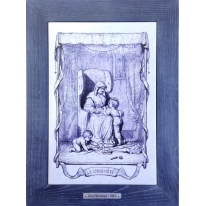 Картина гравюра на керамике La Grand Mere, 1861г. 28x38 см