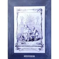 Картина гравюра на керамике La Poupee Ouverte, 1861г. 28x38 см