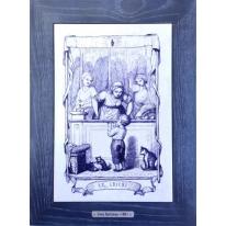 Картина гравюра на керамике Le Cricri, 1861г. 28x38 см