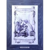 Картина гравюра на керамике Une Inconvenance, 1861г. 28x38 см