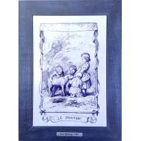 Картина гравюра на керамике Le Mouton, 1861г. 28x38 см