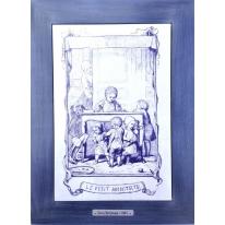 Картина гравюра на керамике Le Petit Architecte, 1861г. 28x38 см