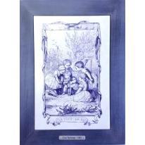 Картина гравюра на керамике Le Petit Chien, 1861г. 28x38 см
