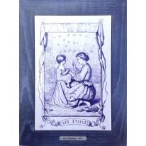 Картина гравюра на керамике Les Etoiles, 1861г. 28x38 см