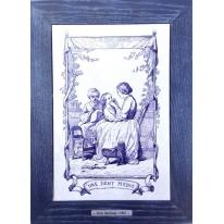 Картина гравюра на керамике Une Dent Perdue, 1861г. 28x38 см