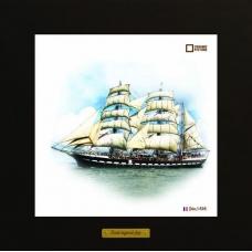 Belem картина корабль в море в деревянной рамке на керамике