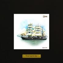 Belem картина корабль в море 18х18 см