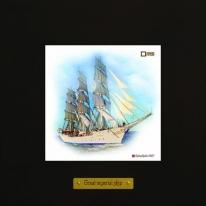 Christian Radich картина корабль в море 18х18 см