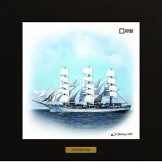 Dar Mlodziezy картина корабль в море в деревянной рамке на керамике