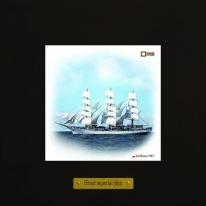Dar Mlodziezy картина корабль в море 18х18 см