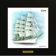 Nadezhda картина корабль в море на керамике в деревянной рамке