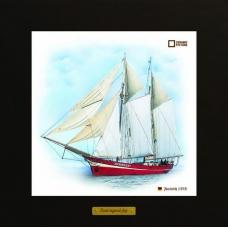 Noorderlicht картина корабль в море в деревянной рамке на керамике