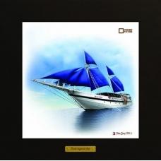 Palau Siren картина корабль в море на керамике в деревянной рамке