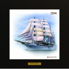 Sea Cloud II картина корабль в море в деревянной рамке на керамике