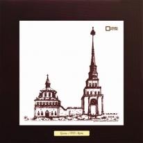 Башня Сююмбике гравюра г.Казань картина сувенир 28х28 см