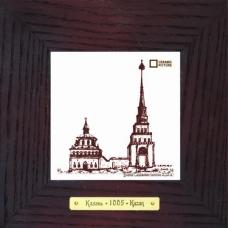Башня Сююмбике гравюра сувенир в деревянной рамке