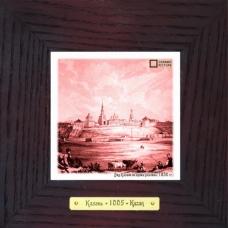 Вид Казани во время разлива 1830 гг. картина сувенир на керамике