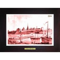 Вид Казанской крепости (1834 г.) картина сувенир 28х28 см