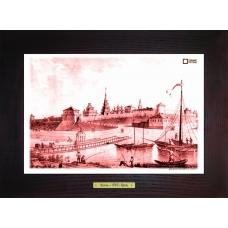 Вид Казанской крепости картина-сувенир  в деревянной рамке