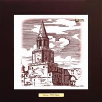 Спасская башня (1930 г.) картина сувенир 28х28 см