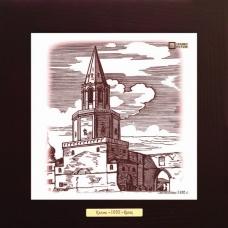 Спасская башня (1930 г.) на керамике в деревянной рамке